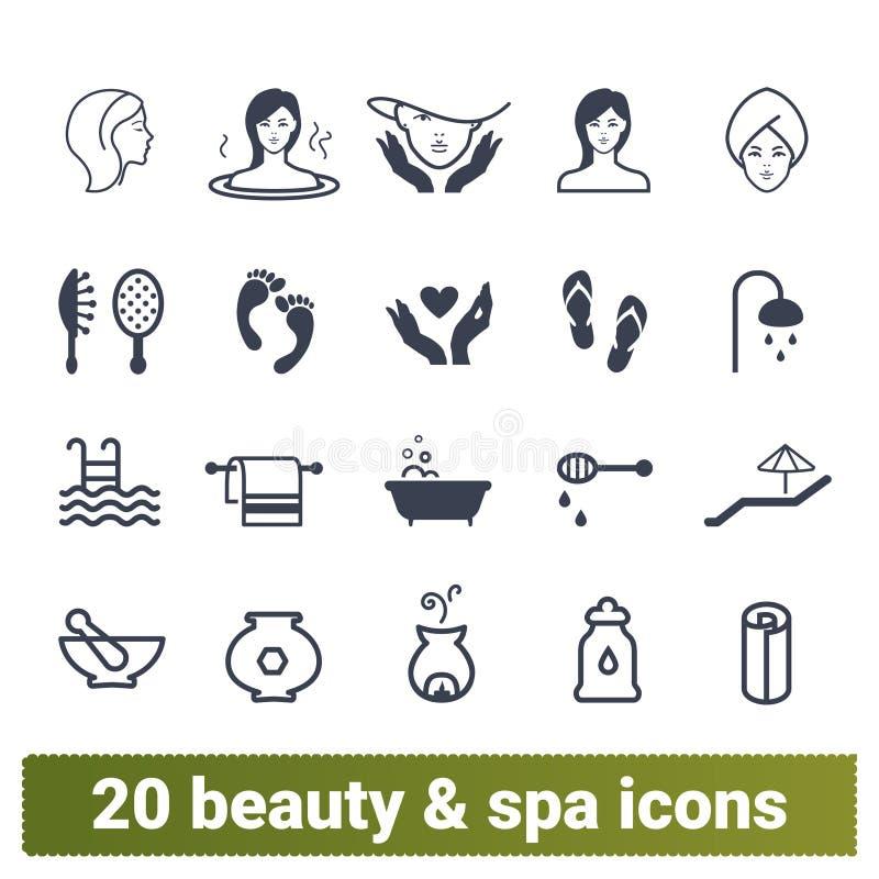 发廊、温泉做法和化妆用品象 库存例证