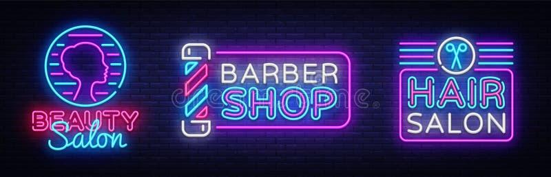 发廊商标汇集传染媒介 美容院霓虹灯广告,理发店现代趋向设计,轻的传染媒介例证 向量例证