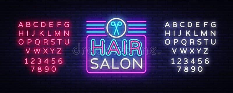 发廊标志传染媒介设计模板 Hairdress霓虹商标,轻的横幅设计元素五颜六色的现代设计趋向 皇族释放例证