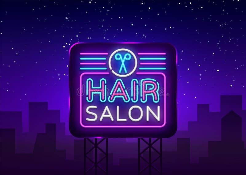 发廊标志传染媒介设计模板 Hairdress霓虹商标,轻的横幅设计元素五颜六色的现代设计趋向 库存例证