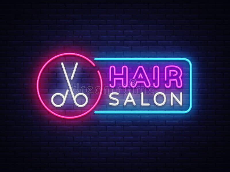 发廊霓虹灯广告传染媒介 Hairdress设计模板霓虹灯广告,轻的横幅,霓虹牌,每夜明亮 向量例证