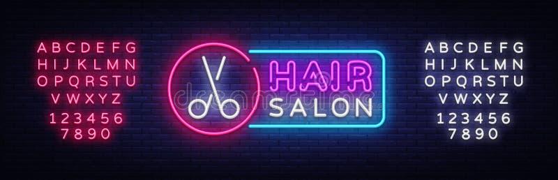 发廊霓虹灯广告传染媒介 Hairdress设计模板霓虹灯广告,轻的横幅,霓虹牌,每夜明亮 库存例证