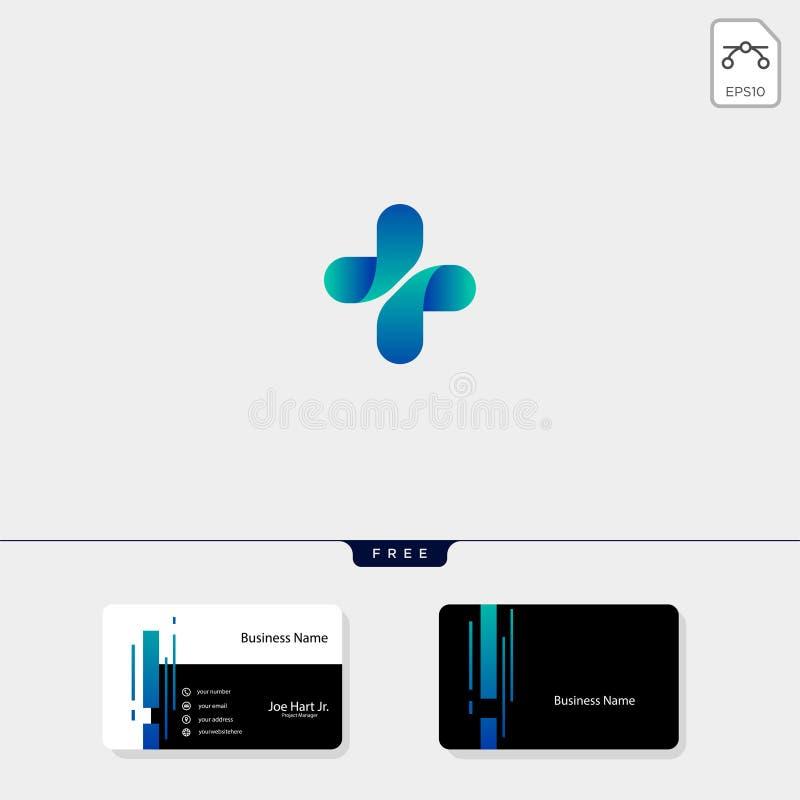发怒医疗药房创造性的商标设计模板 传染媒介以图例解释者,得到自由名片设计模板 库存例证