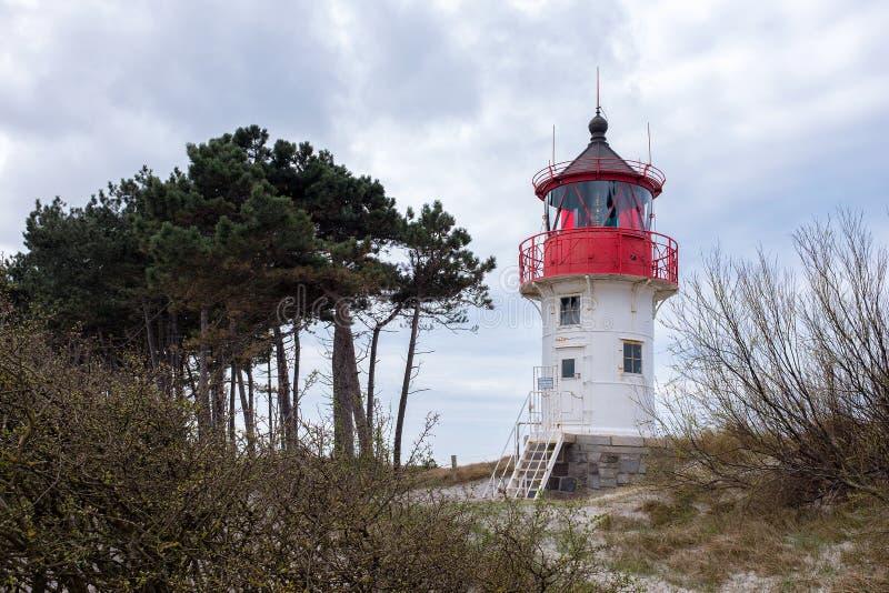 发怒因塞尔希登塞海岛波儿地克的海岸,德国标号灯塔  免版税图库摄影
