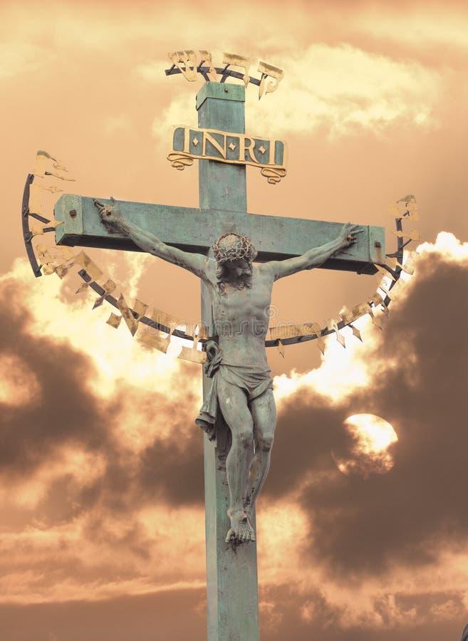 发怒日落的耶稣基督 免版税库存图片