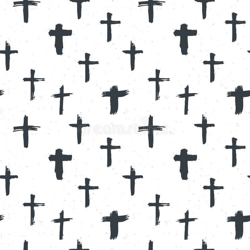 发怒标志无缝的样式难看的东西手拉的基督徒十字架,宗教标志象,耶稣受难象标志传染媒介例证 向量例证