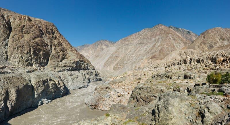 发怒的印度河,巴基斯坦 免版税库存图片