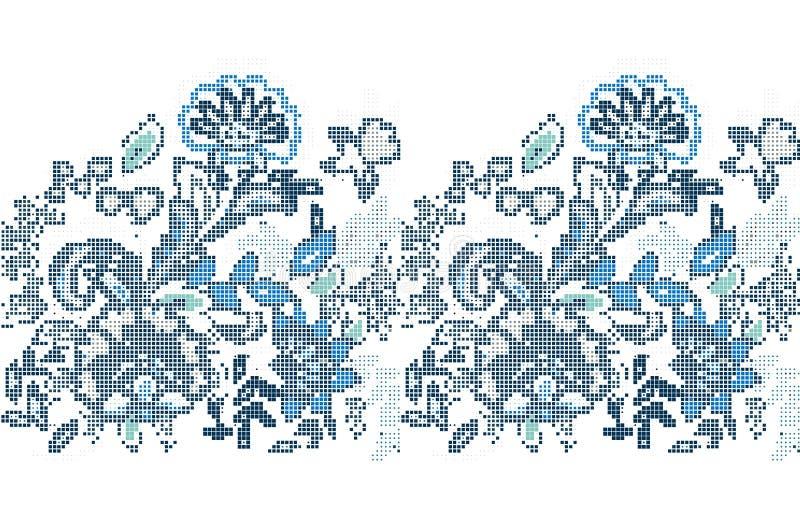 发怒针蓝色种族花的模板 传染媒介被绣的花 皇族释放例证