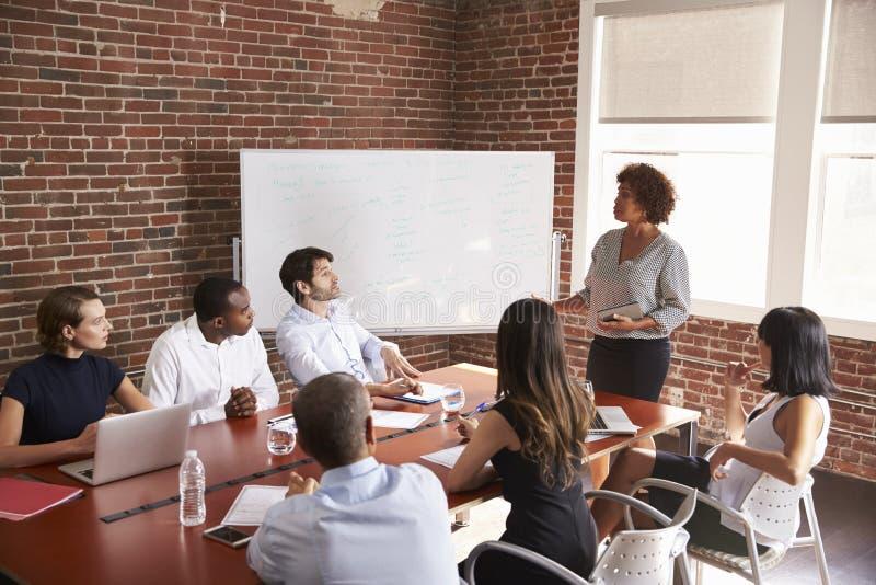 发成熟的女实业家会议室言 免版税库存图片