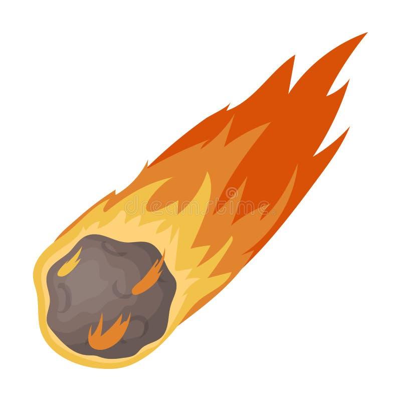 发火焰在白色背景在动画片样式的陨石象隔绝的 恐龙和史前标志股票传染媒介 库存例证