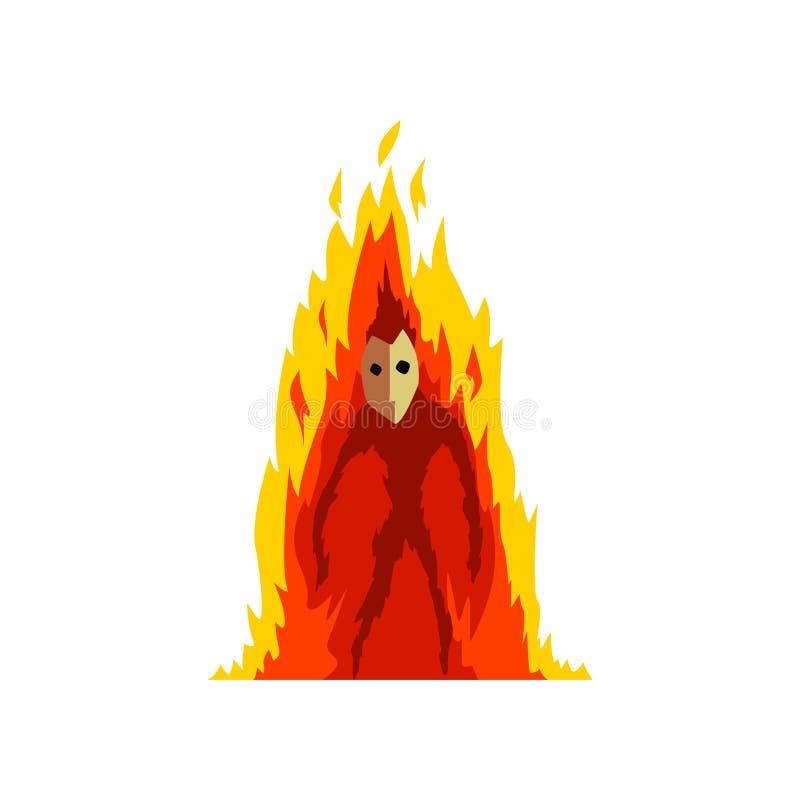 发火焰的火恶魔,幻想神秘的生物卡通人物传染媒介例证 库存例证