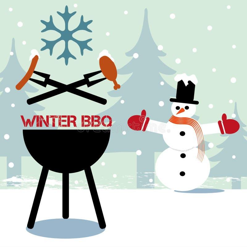 发火焰BBQ格栅的冬天烤肉 库存例证