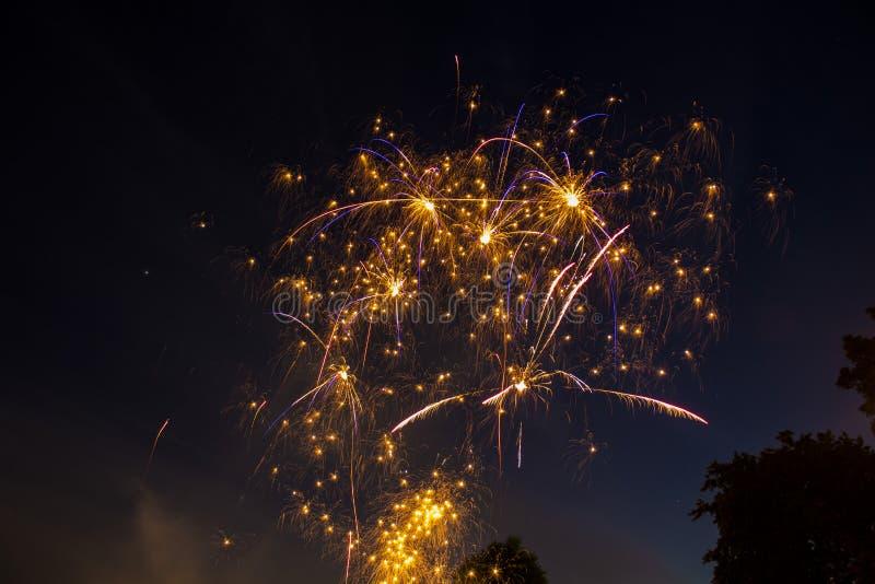 发火花在夜空的烟花 库存图片