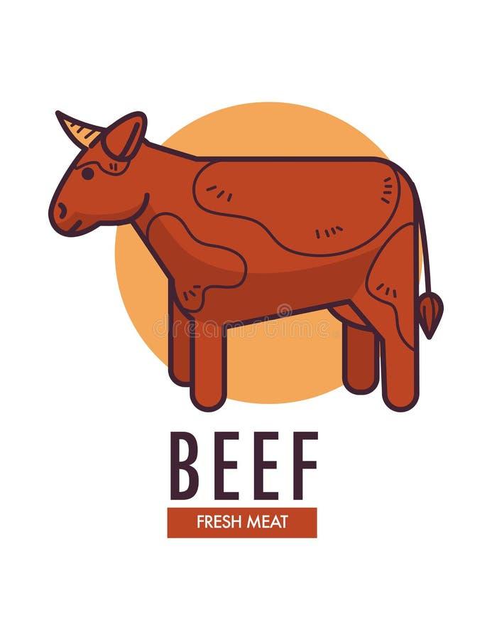 发牢骚与成人母牛的新鲜的肉增进象征 库存例证