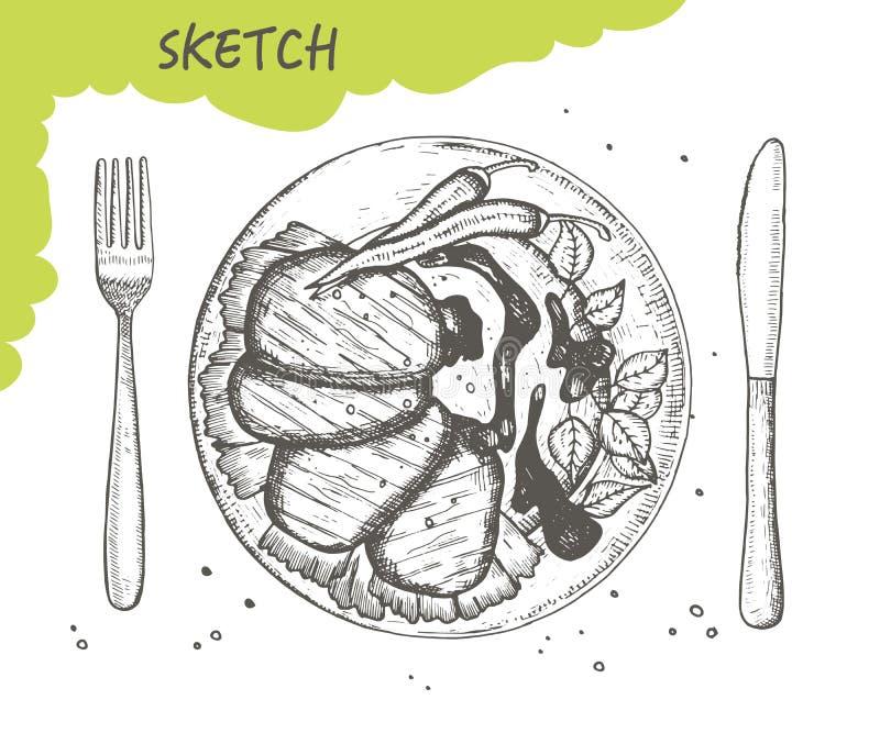 发牢骚大奖章用辣椒和板材剪影传染媒介调味汁 叉子和刀子利器 在白色backgro隔绝的手图画 库存例证