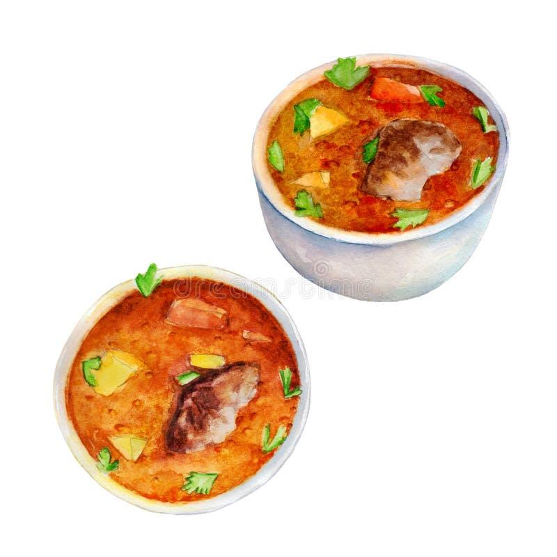 发牢骚汤,在手拉的样式的水彩例证被隔绝的 库存例证