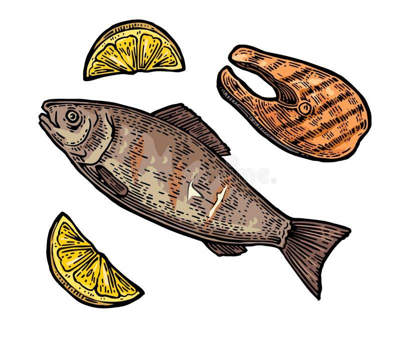 发牢骚烤鱼排有柠檬顶视图 皇族释放例证