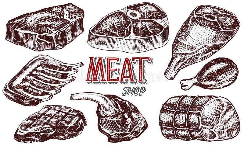 发牢骚肉、猪肉牛排、鸡腿、肉饼、烟肉和肋骨 在葡萄酒样式的烤肉食物 餐馆的模板 库存例证