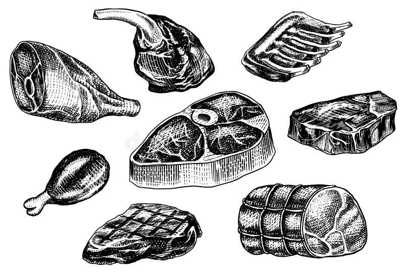 发牢骚肉、猪肉牛排、鸡腿、肉饼、烟肉和肋骨 在葡萄酒样式的烤肉食物 餐馆的模板 皇族释放例证