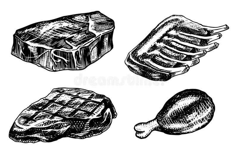 发牢骚肉、猪肉牛排、bbq鸡、肉饼、烟肉和肋骨 在葡萄酒样式的烤肉食物 餐馆的模板 库存例证