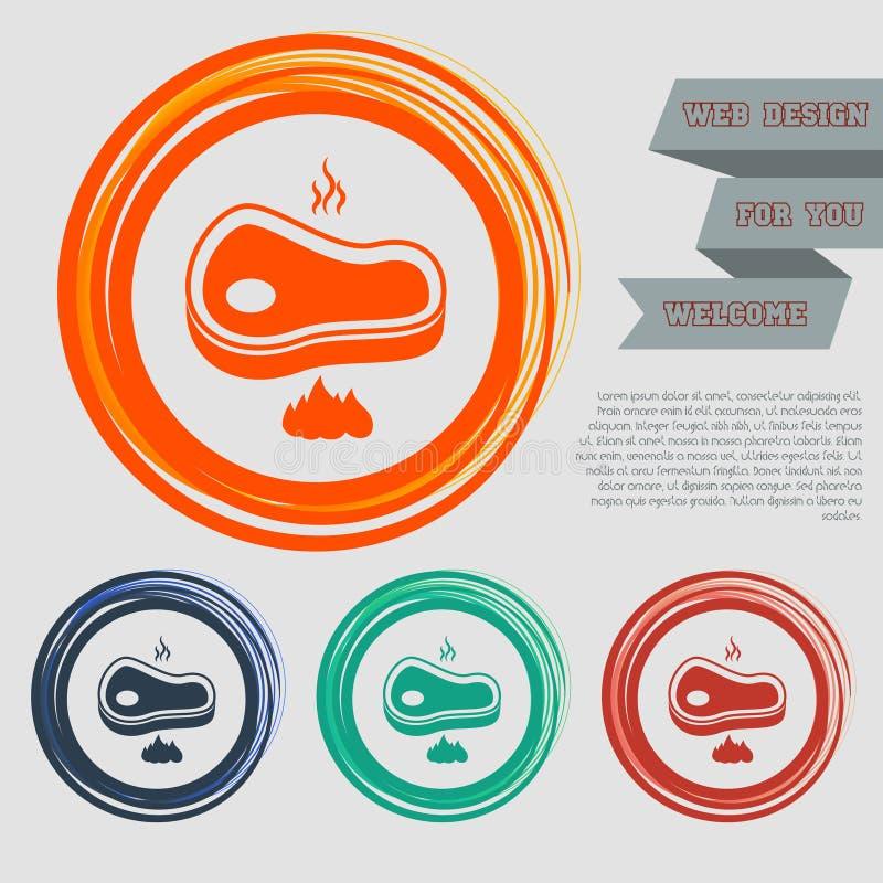 发牢骚肉在红色,蓝色,绿色,橙色按钮您的网站的和设计的牛排象与空间文本 库存例证
