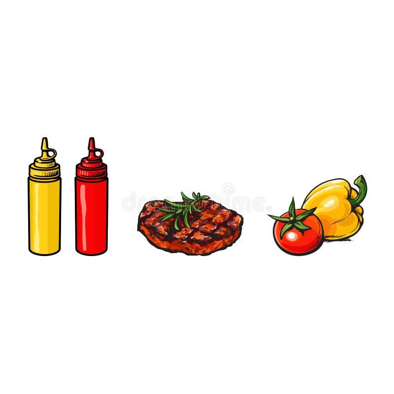 发牢骚,猪肉牛排、菜、番茄酱和芥末 皇族释放例证
