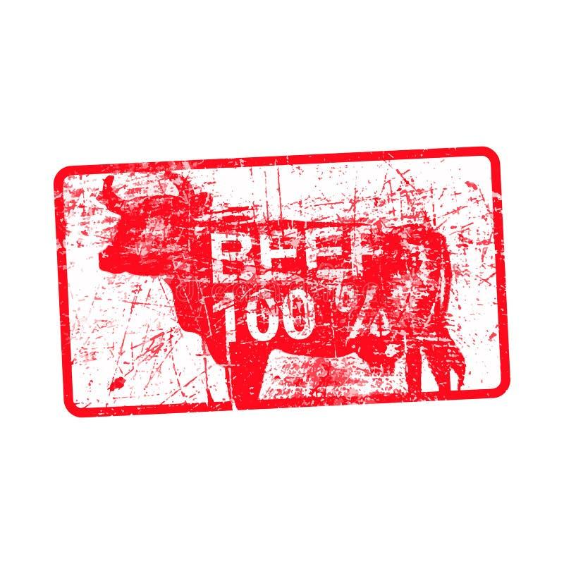 发牢骚100% -在长方形的红色橡胶肮脏的脏的邮票 向量例证