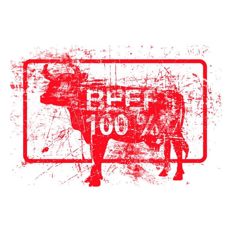 发牢骚100% -在长方形的红色橡胶脏的邮票 向量例证