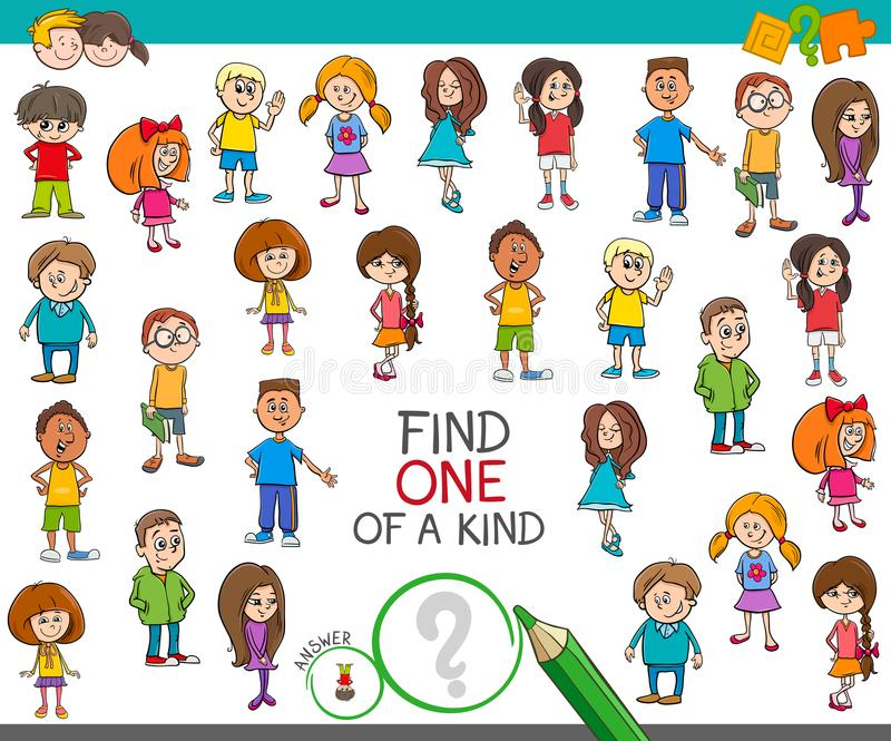 发现一与儿童字符的一场亲切的比赛 库存例证