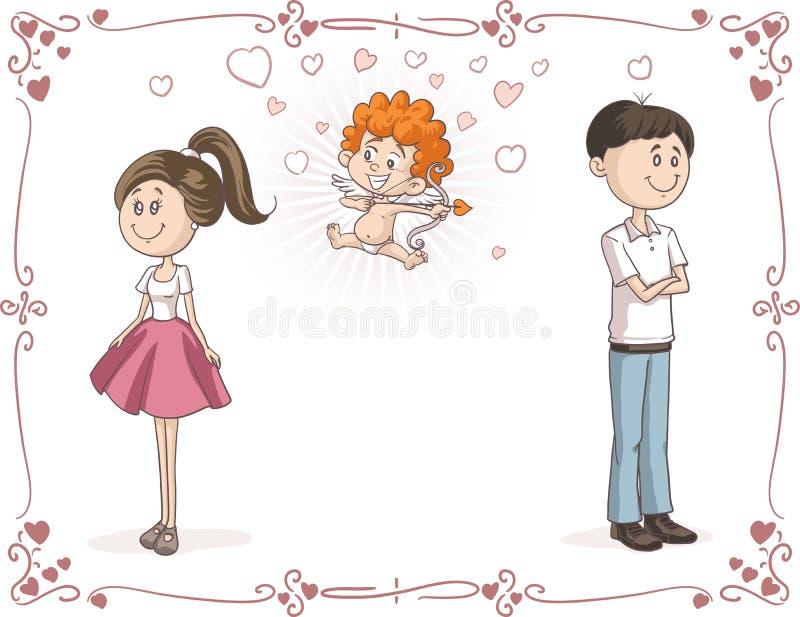 发现与丘比特传染媒介动画片的夫妇爱 库存例证