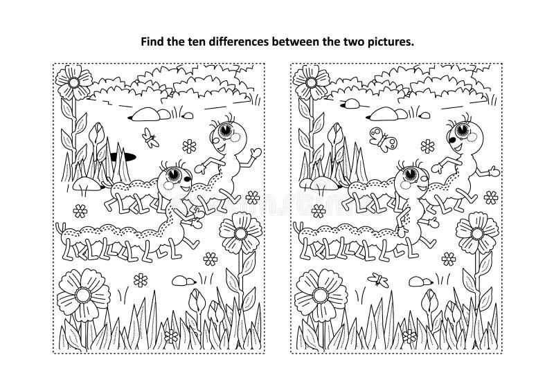 发现与两条逗人喜爱的毛虫的区别视觉难题和着色页 皇族释放例证