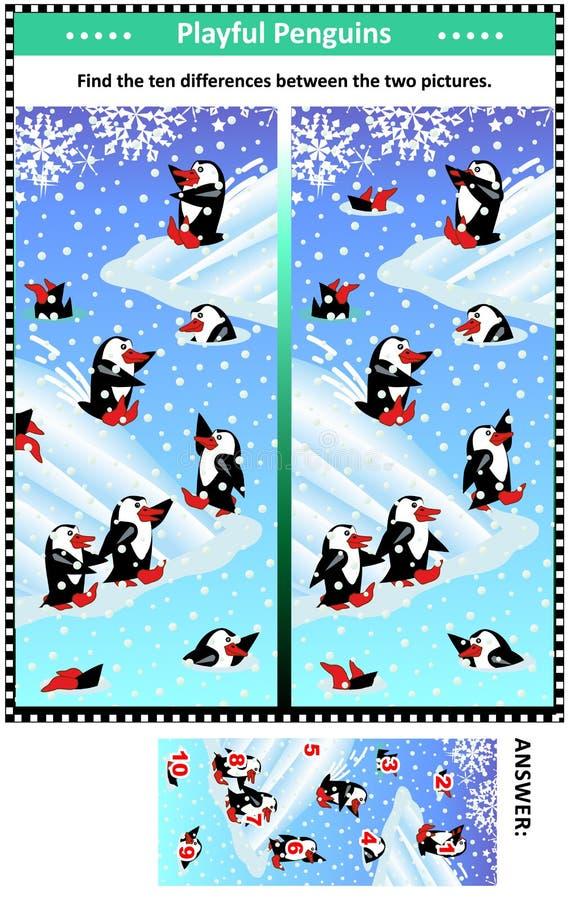 发现与嬉戏的企鹅的区别图片难题 库存例证