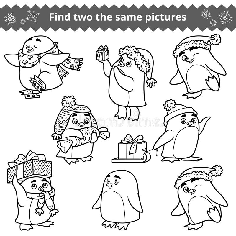 发现两同样图片,套企鹅 库存例证