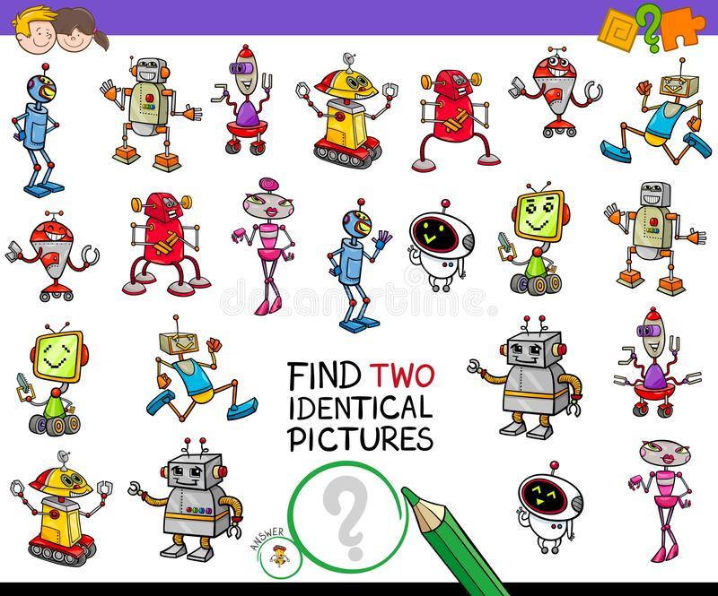 发现两相同机器人教育比赛 向量例证