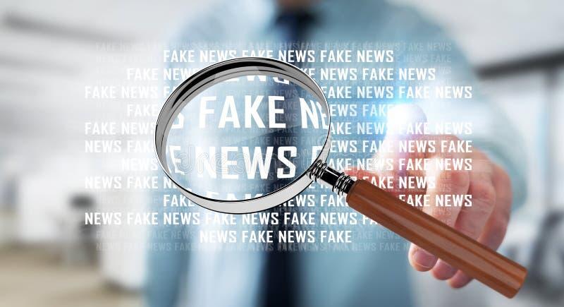 发现假新闻信息3D翻译的商人 向量例证