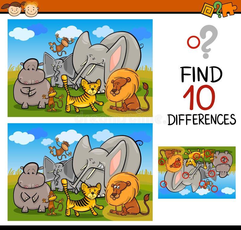 发现区别比赛动画片 库存例证