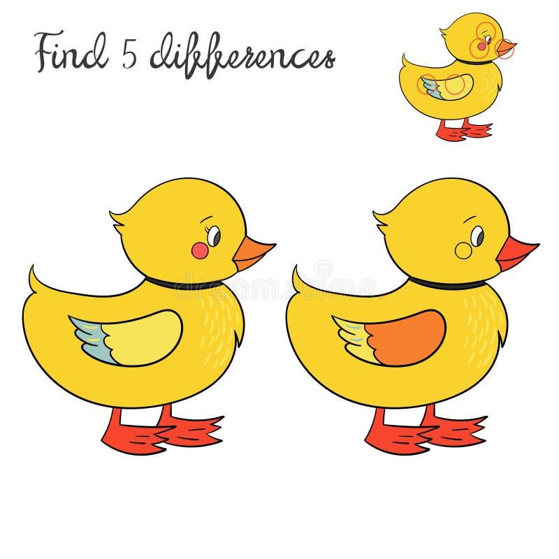 发现区别比赛鸭子的孩子布局 库存例证