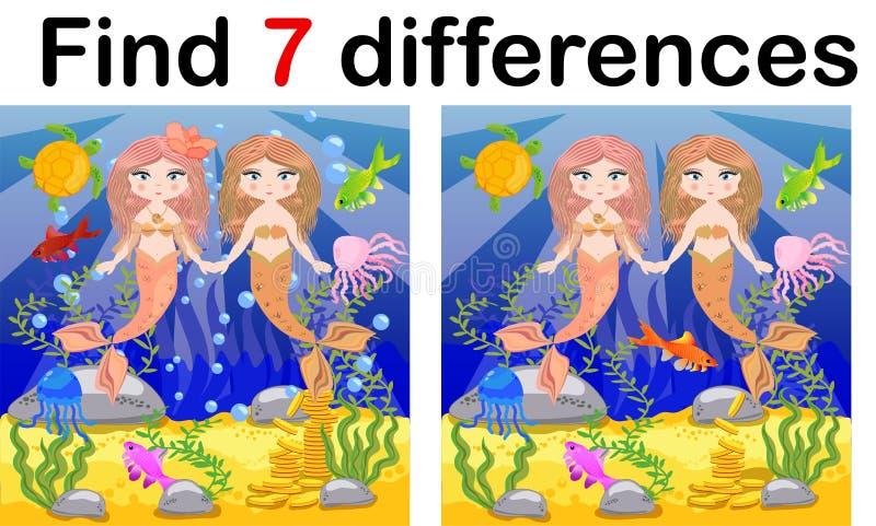 发现区别,孩子的比赛,在动画片样式,孩子的教育比赛,学龄前活页练习题活动的美人鱼水中, 向量例证
