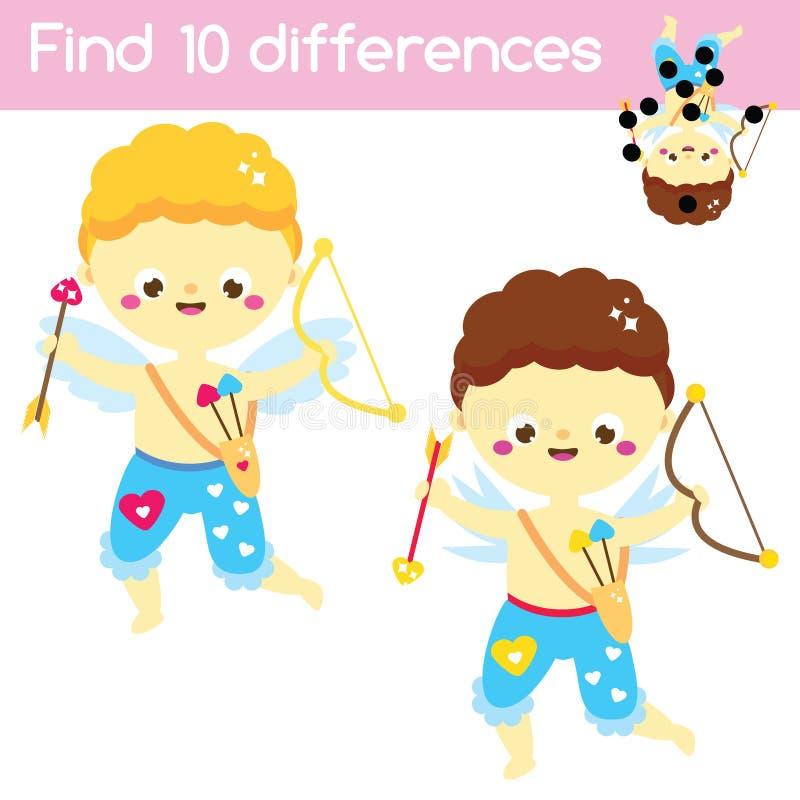 发现区别 教育儿童比赛 孩子活动乐趣页 逗人喜爱的丘比特男孩 St情人节小孩的题材乐趣 库存例证