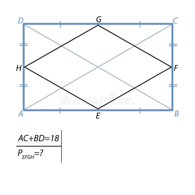 发现四方形的周长任务  库存例证