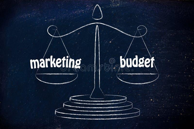 发现在事务的好平衡:营销&预算价值 免版税库存图片