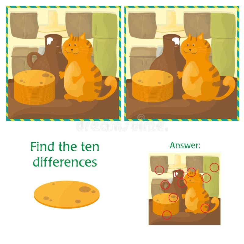 发现学龄前孩子的区别教育任务有猫的 库存例证