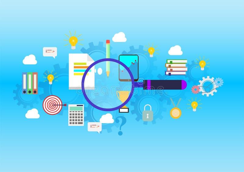 发现平的设计网站横幅正确的教育、行业和回答对所有问题 皇族释放例证