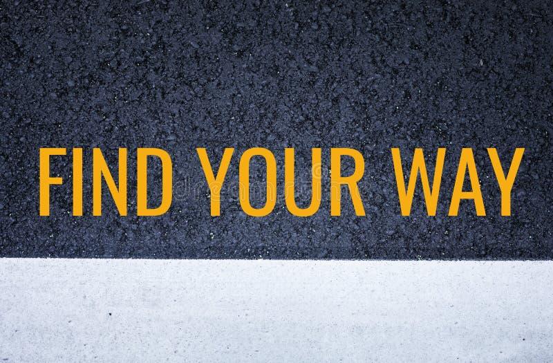 发现您的与黑柏油路纹理的方式概念 免版税库存照片