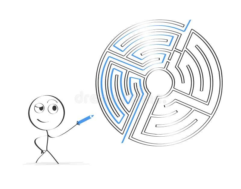 发现方式通过迷宫 向量例证