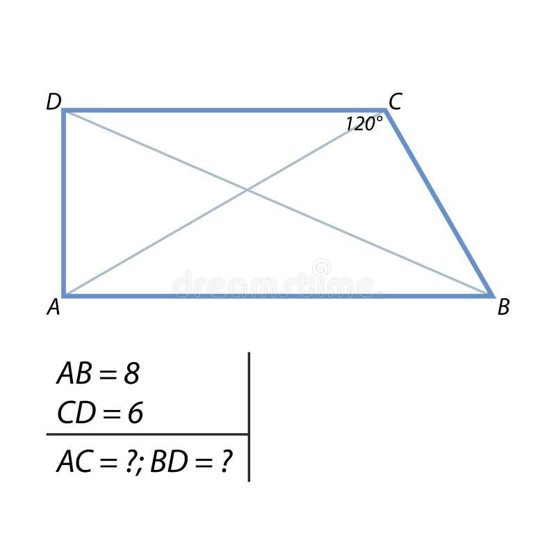 发现梯形的对角线任务  库存例证