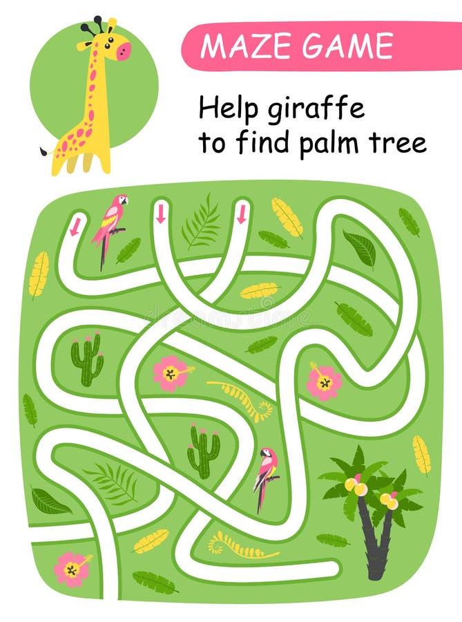 发现棕榈树的帮助长颈鹿 孩子的迷宫比赛 库存例证