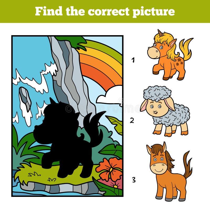 发现正确图片、神仙的独角兽和彩虹 皇族释放例证