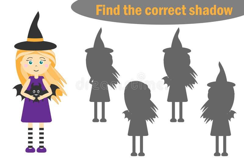发现正确阴影,孩子的万圣夜比赛,动画片巫婆,孩子的教育比赛,学龄前活页练习题活动,任务f 库存例证