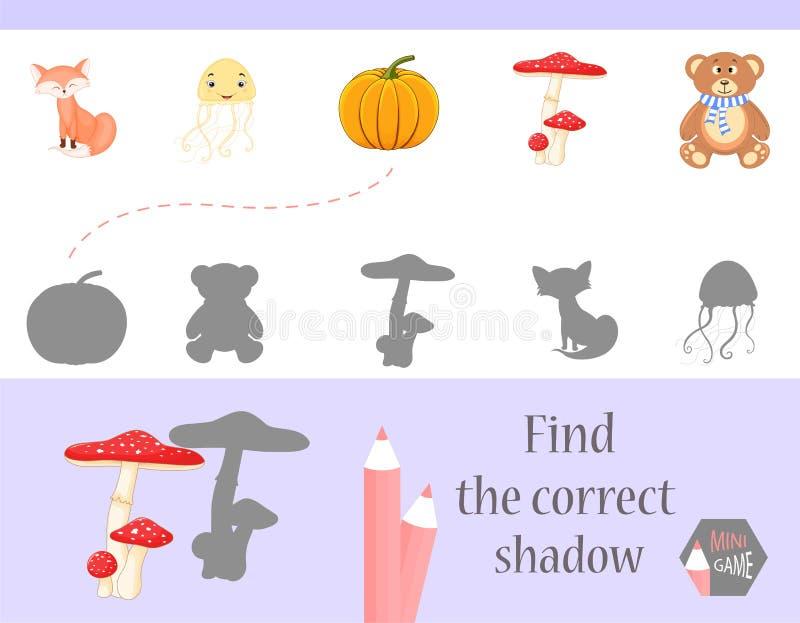 发现正确阴影,孩子的教育比赛 逗人喜爱的动画片动物和自然 也corel凹道例证向量 皇族释放例证
